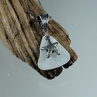 White seaglass with silver starfish